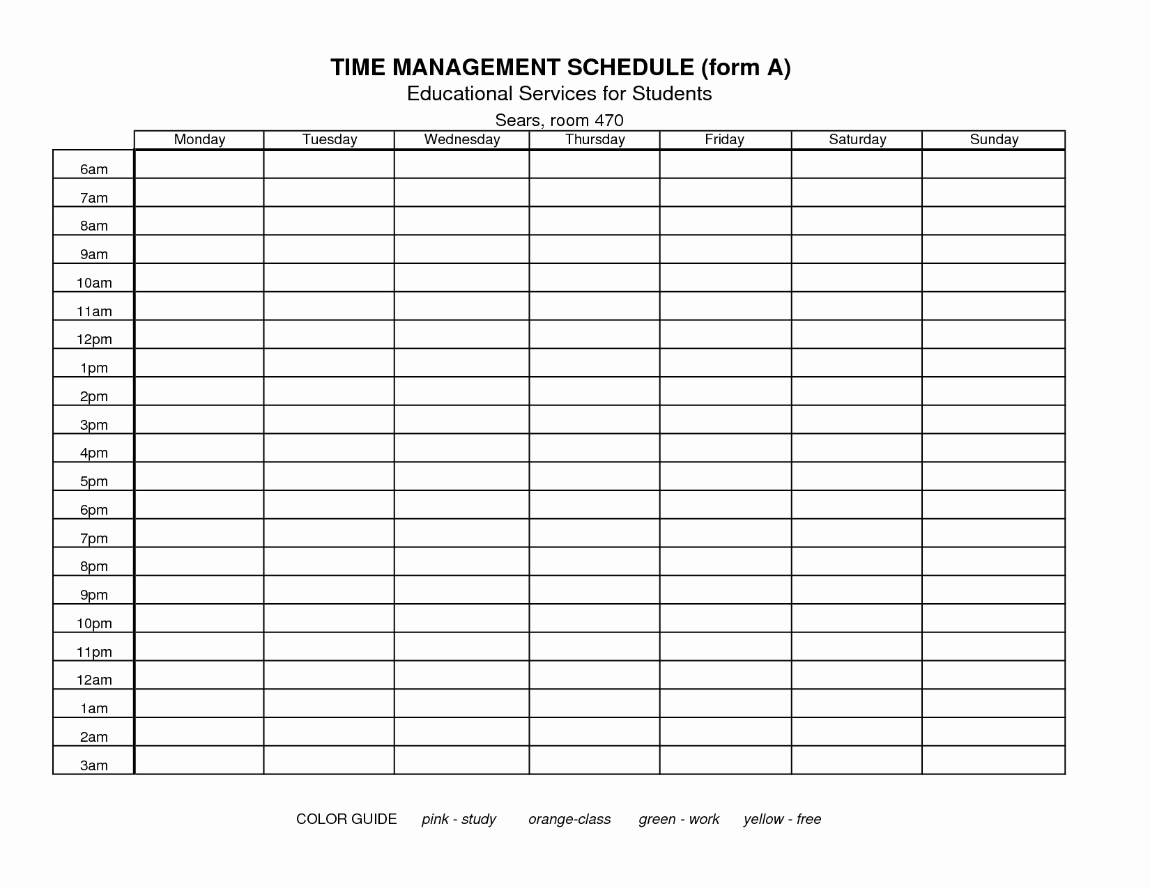 Parenting Time Calendar Template Fresh 7 Best Of Free Printable Time Management forms
