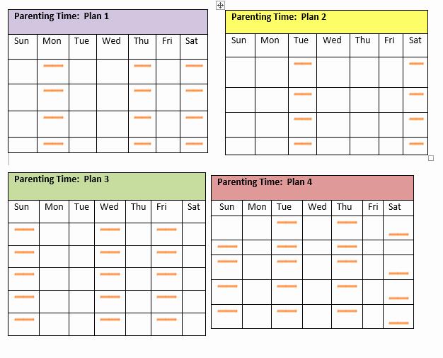 Parenting Time Calendar Template Luxury Visitation Schedule Template
