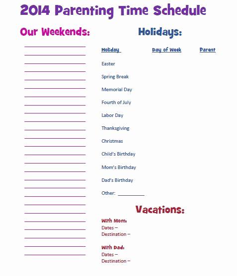 Parenting Time Calendar Template New Parenting Time Custody Calendar 2014 Schedule Cheat