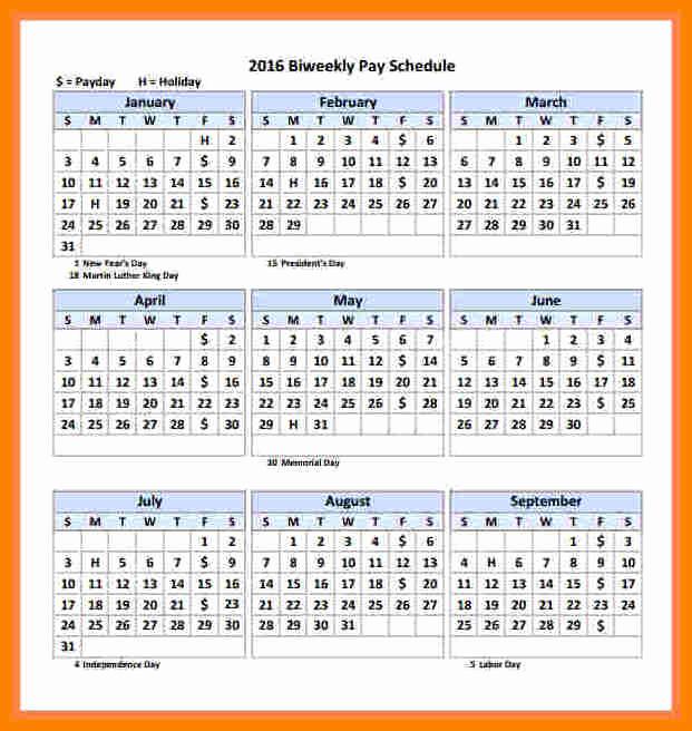Payroll Calendar Template 2017 Beautiful 5 Biweekly Payroll Calendar Template 2018