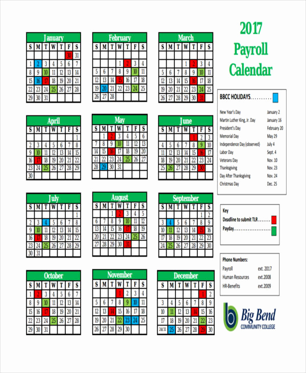 Payroll Calendar Template 2017 Fresh 7 Payroll Calendar Templates Sample Example