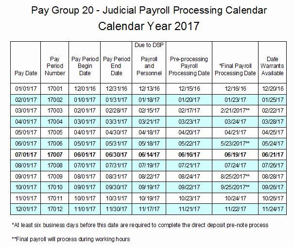 Payroll Calendar Template 2017 Inspirational Pay Group 20 Judicial Payroll Processing Calendar 2017