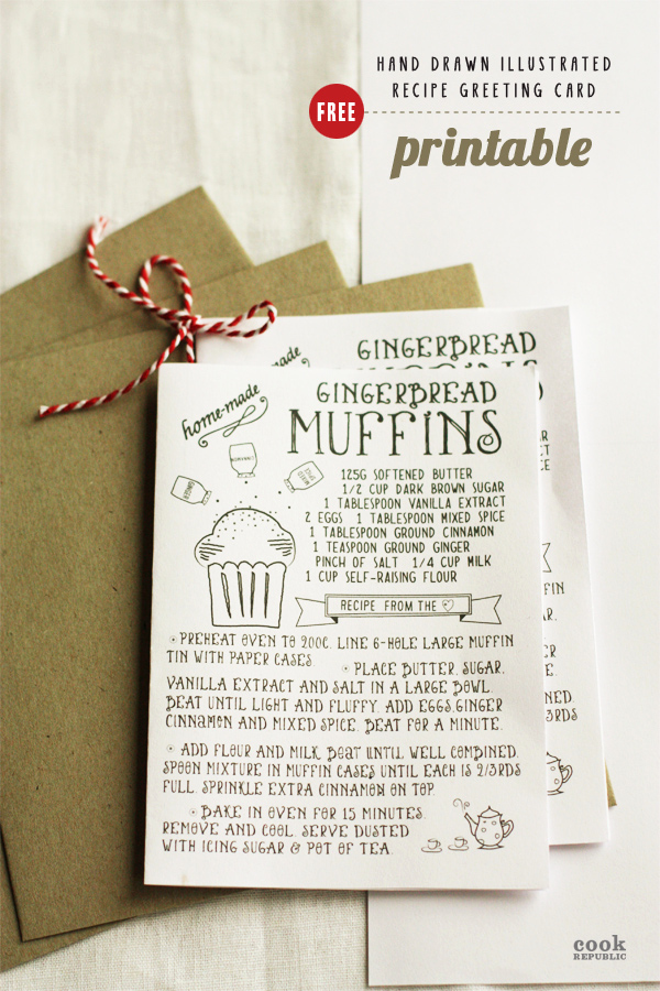 Printable Greeting Card Templates Lovely Free Printable Hand Drawn Illustrated Christmas Recipe