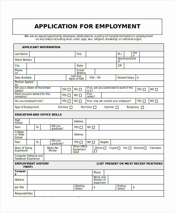 Printable Job Applications Template Best Of Generic Job Application 8 Free Word Pdf Documents