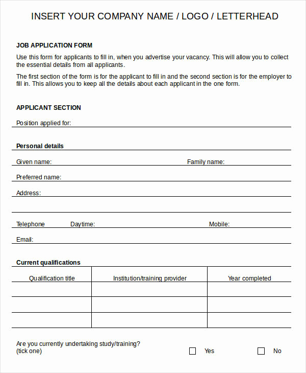 Printable Job Applications Template Elegant Blank Job Application 8 Free Word Pdf Documents