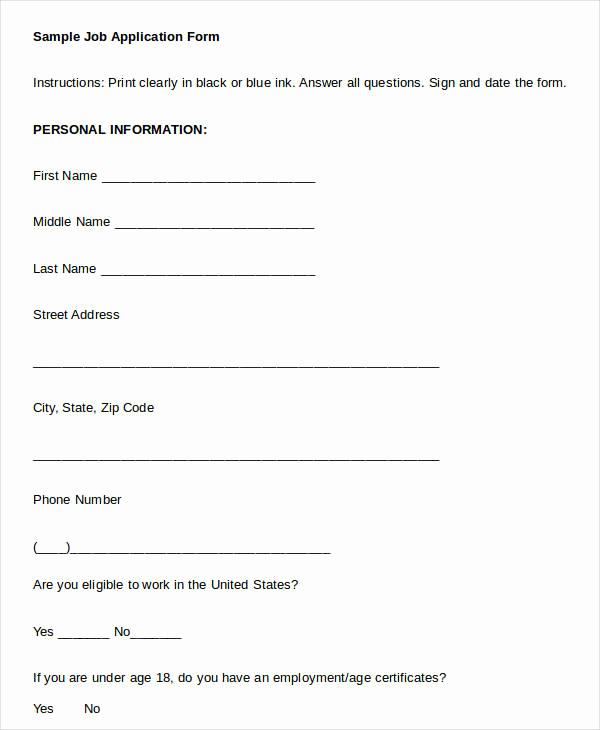 Printable Job Applications Template Fresh Blank Job Application 8 Free Word Pdf Documents