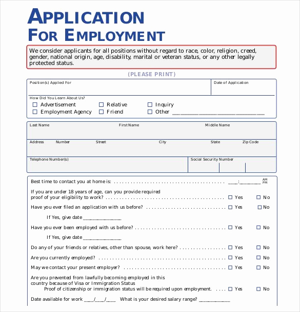 Printable Job Applications Template Inspirational 21 Employment Application Templates Pdf Doc