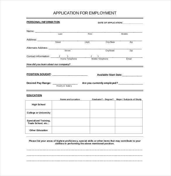 Printable Job Applications Template Lovely 15 Employment Application Templates – Free Sample
