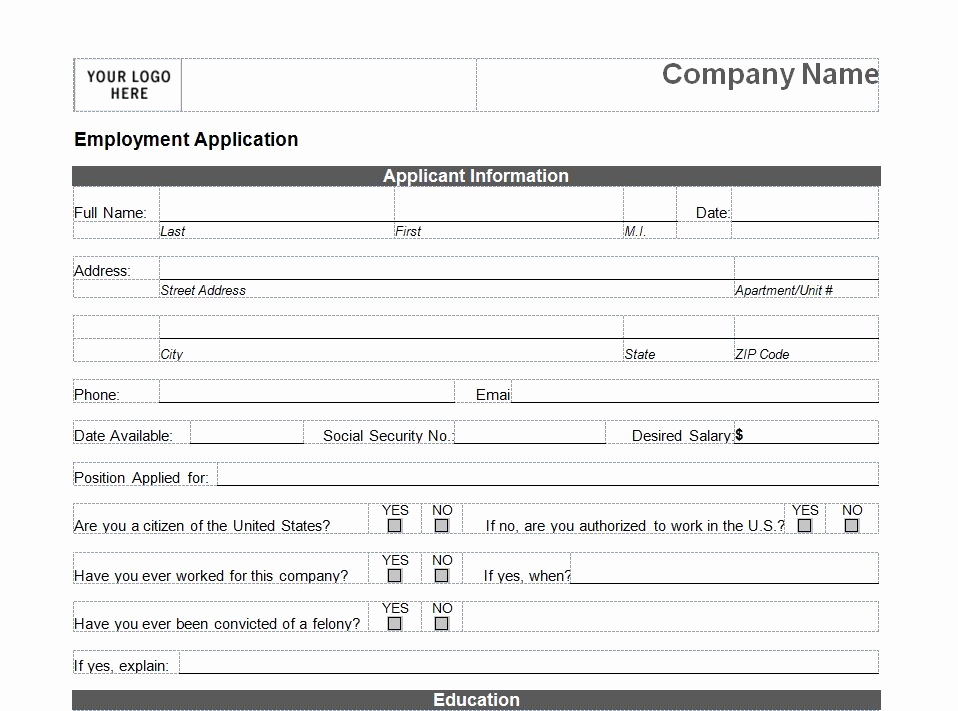 Printable Job Applications Template Luxury Printable Job Application