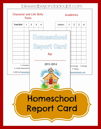 Printable Report Card Template Awesome Free Homeschool Report Card form Blessed Beyond A Doubt