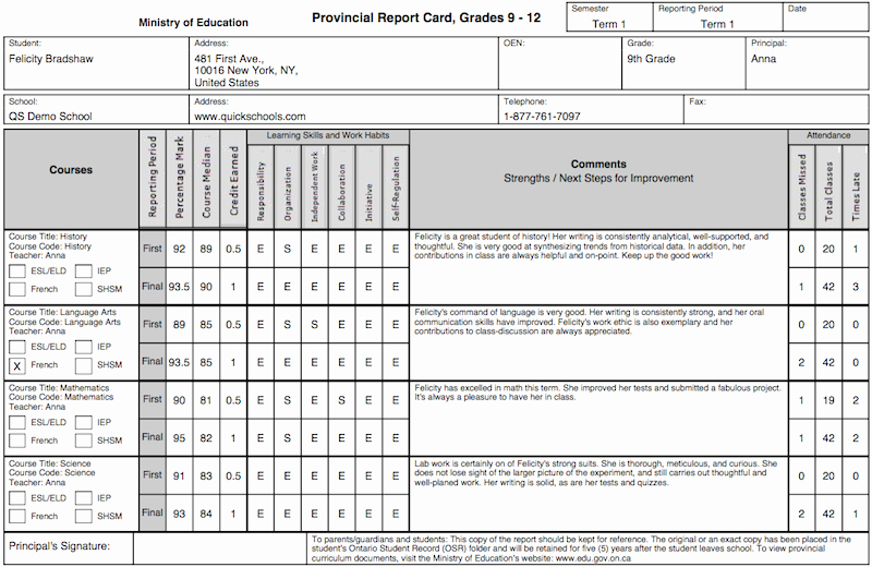Printable Report Card Template Beautiful the Tario Province Report Card Template