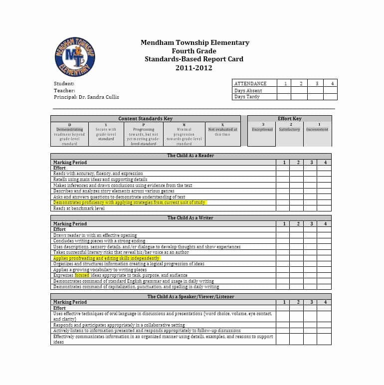 Printable Report Card Template Best Of 30 Real & Fake Report Card Templates [homeschool High