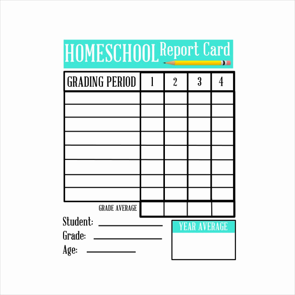 Printable Report Card Template Fresh 6 Sample Homeschool Report Cards