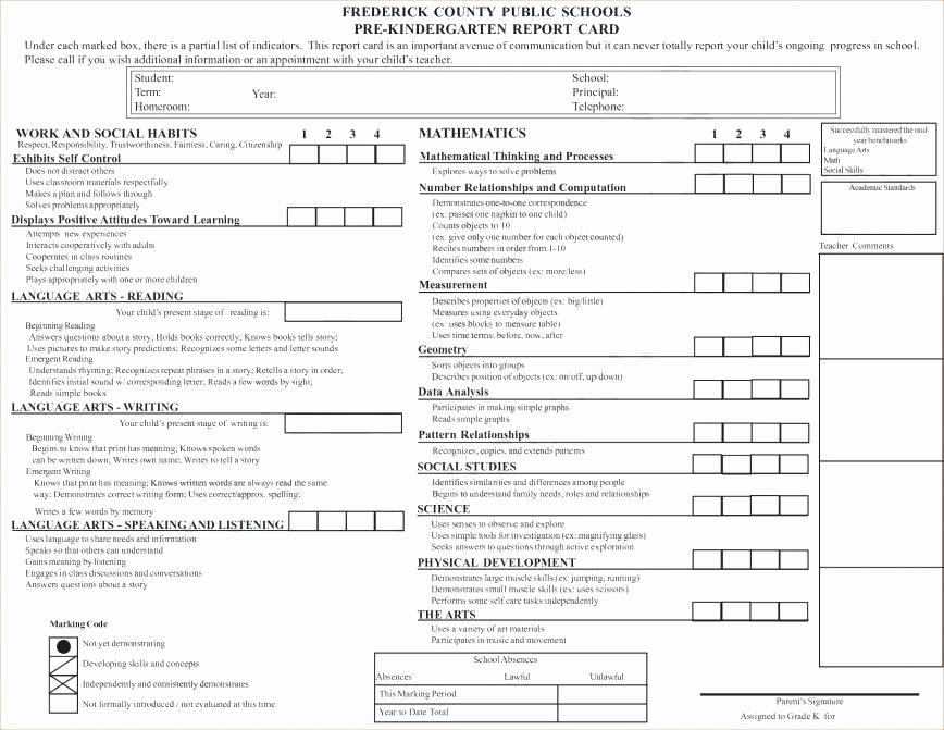 Printable Report Card Template Fresh Printable Preschool Report Card Template Free Sample Cards
