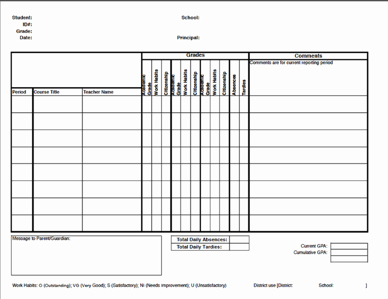 Printable Report Card Template Unique Report Cards – Illuminate Education