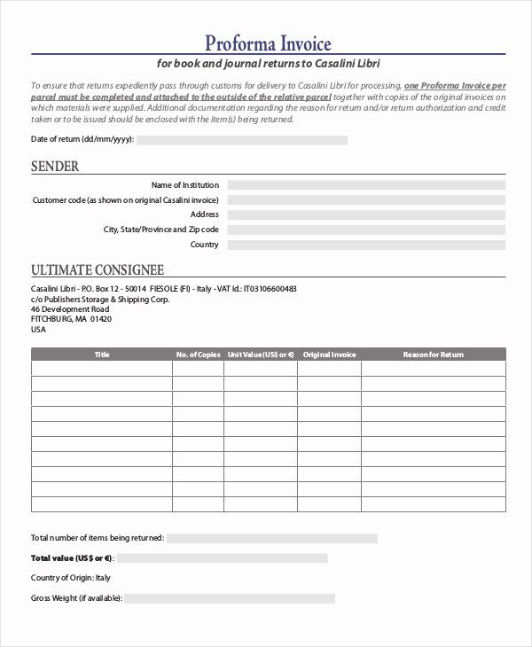 Pro forma Invoice Template Best Of Proforma Invoice 13 Free Word Excel Pdf Documents