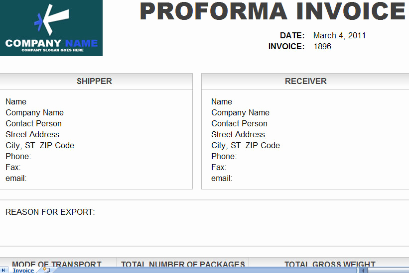 Pro forma Invoice Template New Downlodable Freeware Pro forma Invoice format