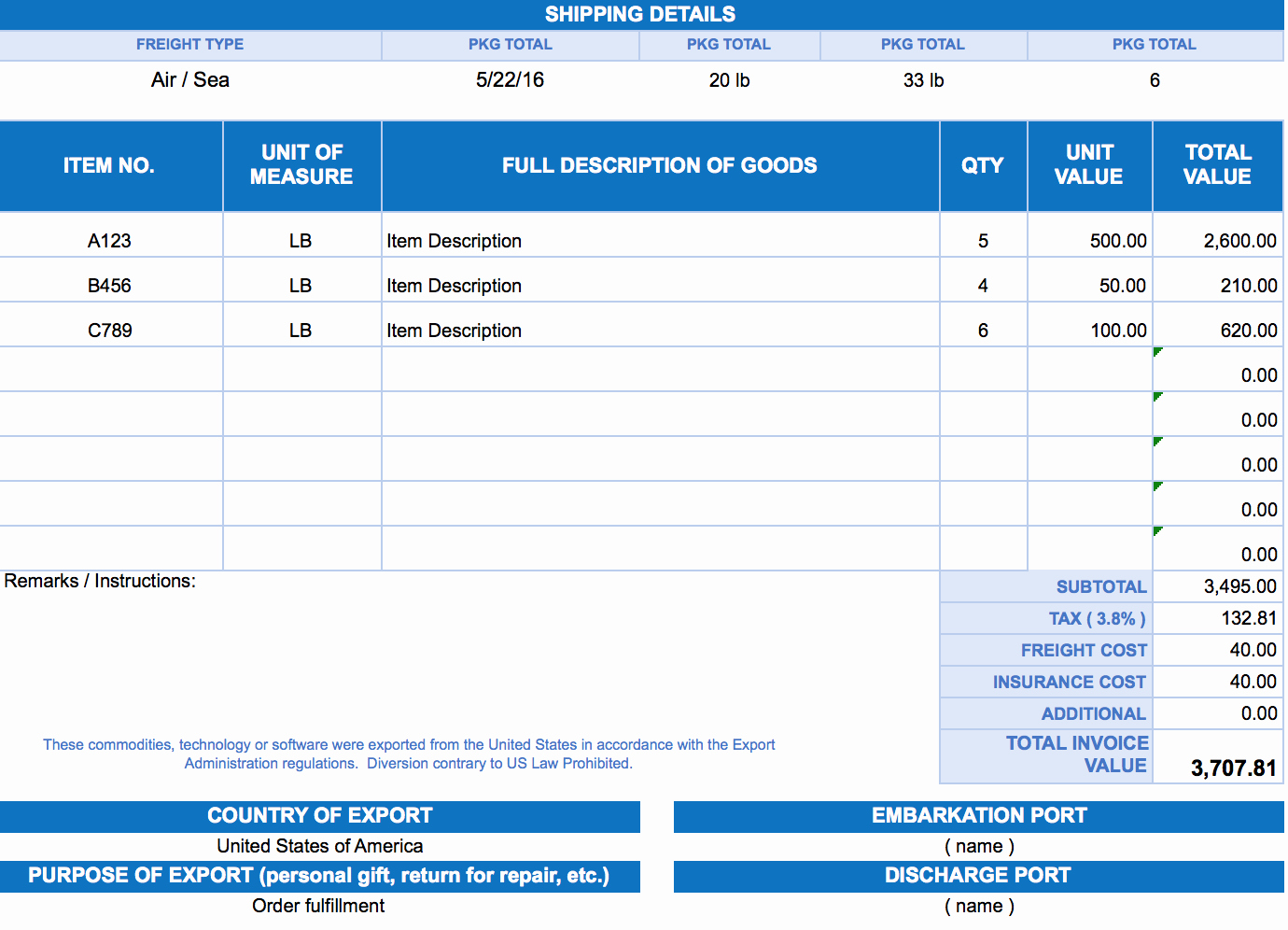 Pro forma Invoice Template New Free Excel Invoice Templates Smartsheet