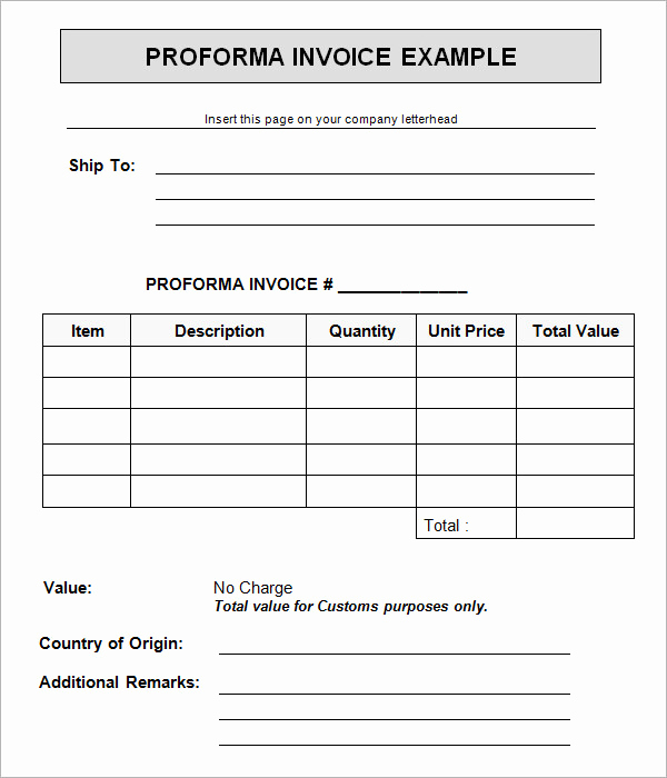 Pro forma Invoice Template Unique 15 Sample Proforma Invoice Template for Download