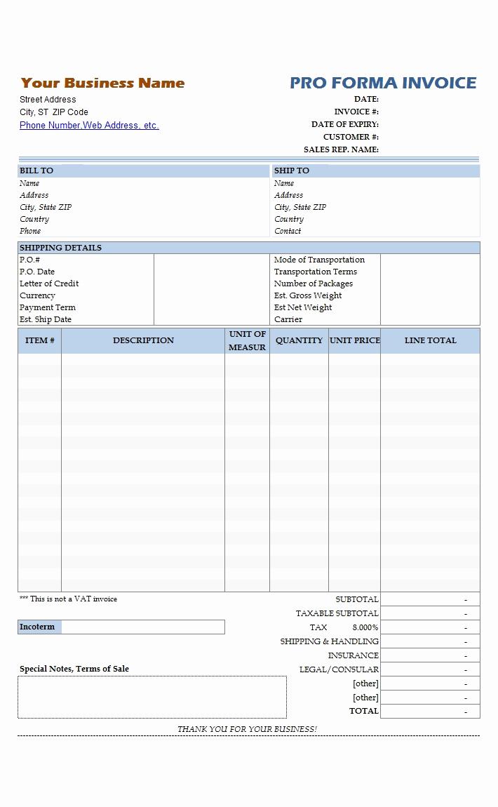 Pro forma Invoice Template Unique Simple Proforma Invoice Template Invoice Template Ideas