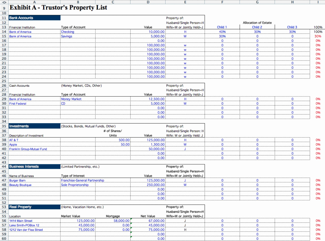 Probate Accounting Template Excel New Executor Excel Spreadsheet with 001 Probate Accounting