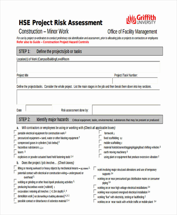 Project Risk assessment Template Awesome 26 Risk assessment form Templates