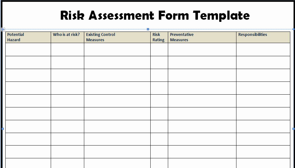 Project Risk assessment Template Awesome Risk assessment form Templates In Word Excel – Project