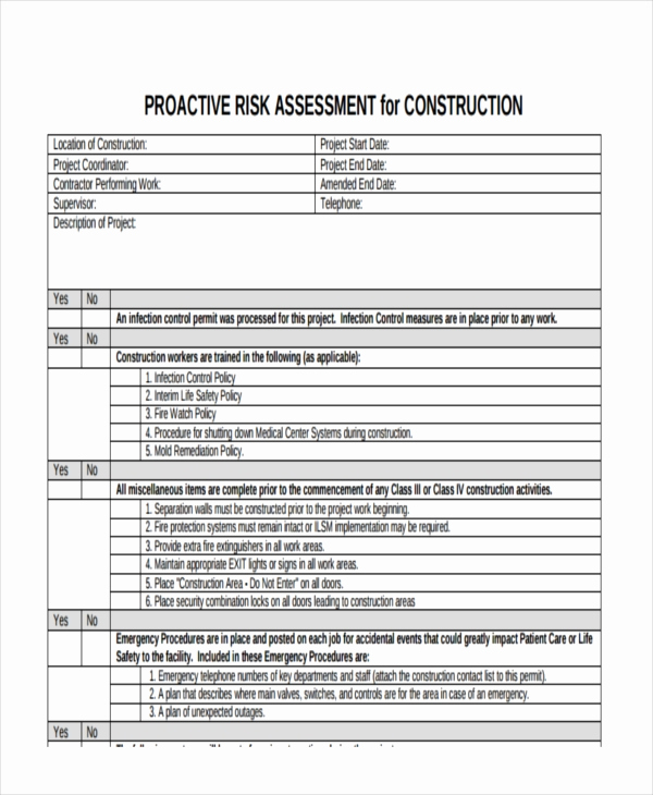 Project Risk assessment Template Inspirational 37 Risk assessment Templates