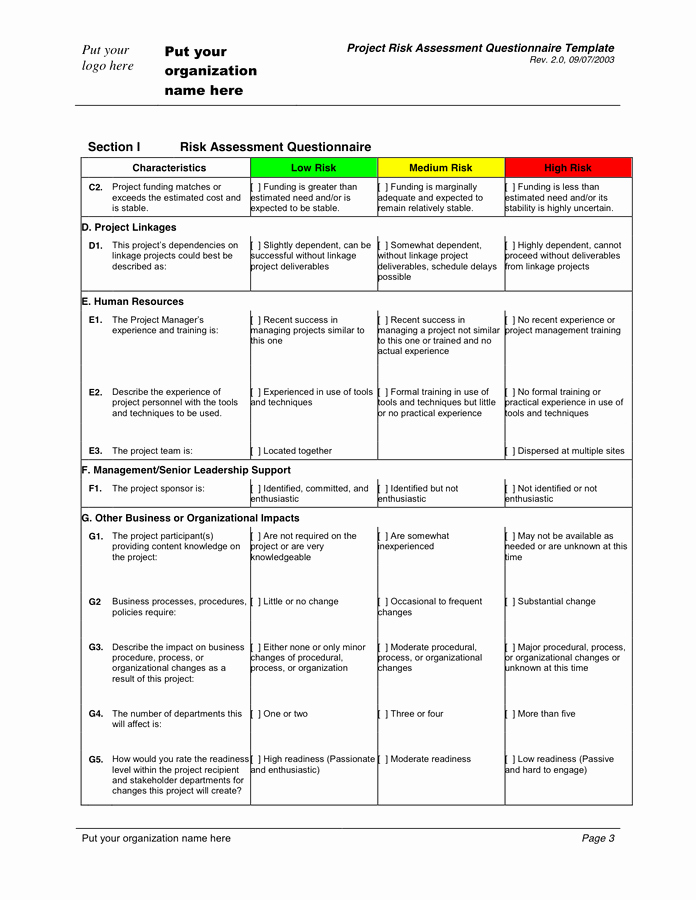 Project Risk assessment Template Inspirational Risk assessment Questionnaire Template In Word and Pdf