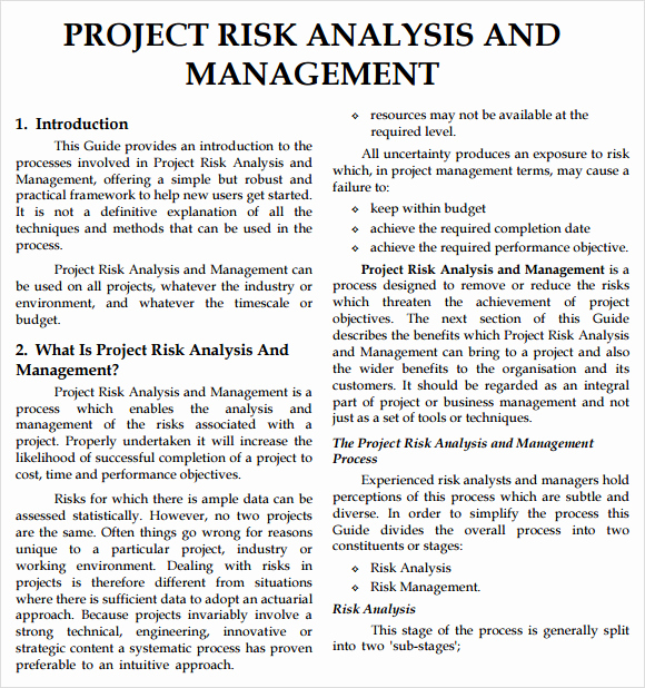 Project Risk assessment Template Lovely Risk Analysis Template 11 Download Free Documents In