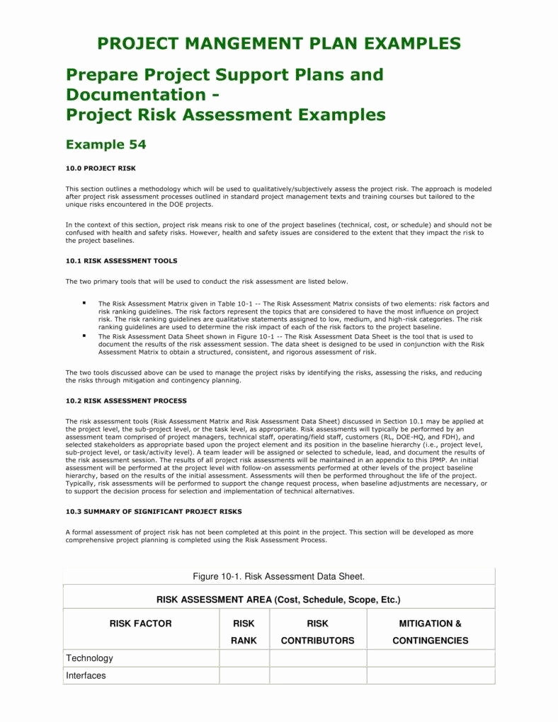 Project Risk assessment Template Luxury 2 Project Risk assessment Templates Pdf