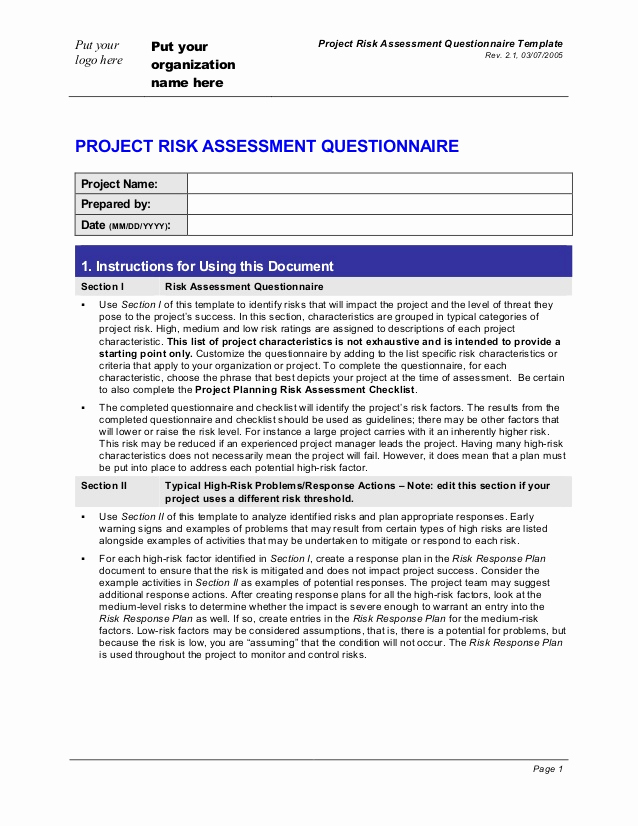 Project Risk assessment Template Luxury Project Risk assessment Questionnaire