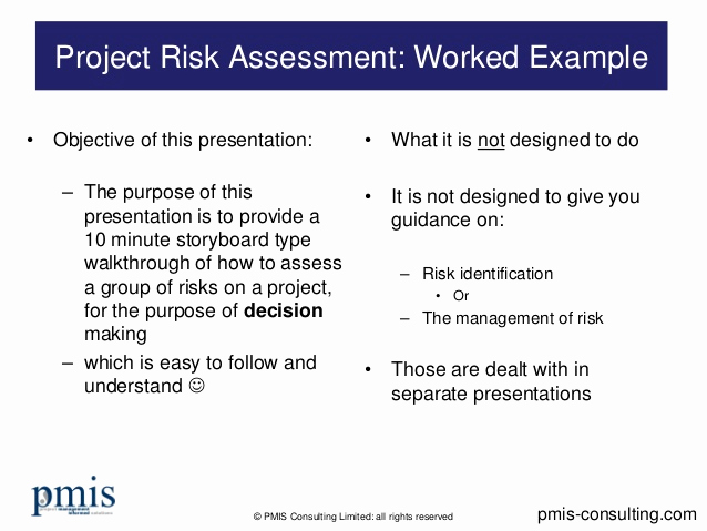 Project Risk assessment Template New Project Risk assessment Worked Example