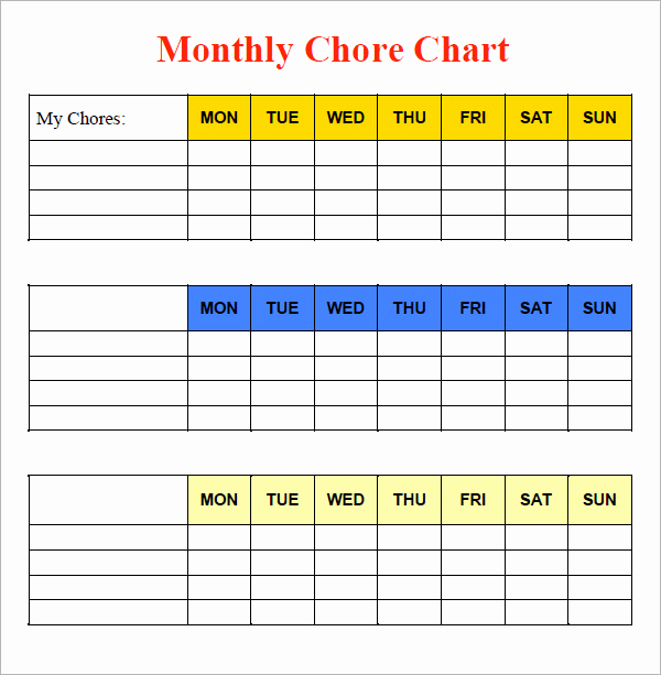 Roommate Chore Chart Template Beautiful 10 Sample Chore Chart Templates