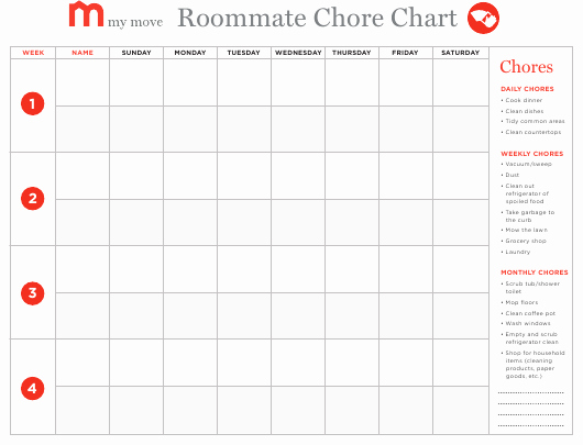 Roommate Chore Chart Template Beautiful Roommate Chore Chart Template My Move Download Fillable