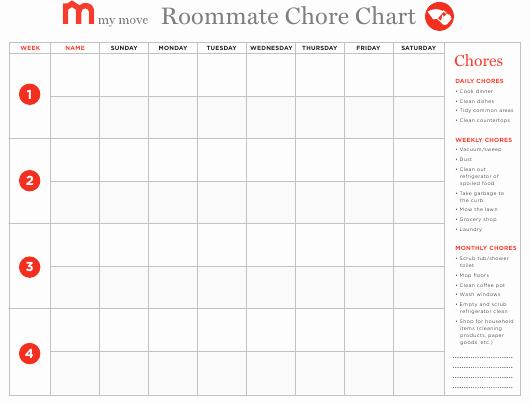 Roommate Chore Chart Template Beautiful Roommate Chore Chart Template My Move Download Fillable