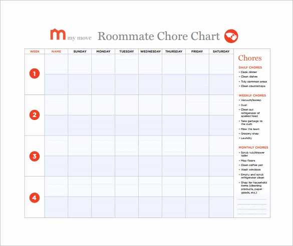 Roommate Chore Chart Template Best Of 10 Sample Chore Chart Templates
