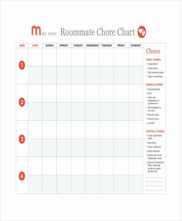 Roommate Chore Chart Template Inspirational 19 Sample Chore Charts