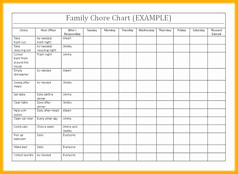 Roommate Chore Chart Template Lovely 97 Blank Chore Charts Free Blank organizational Chart