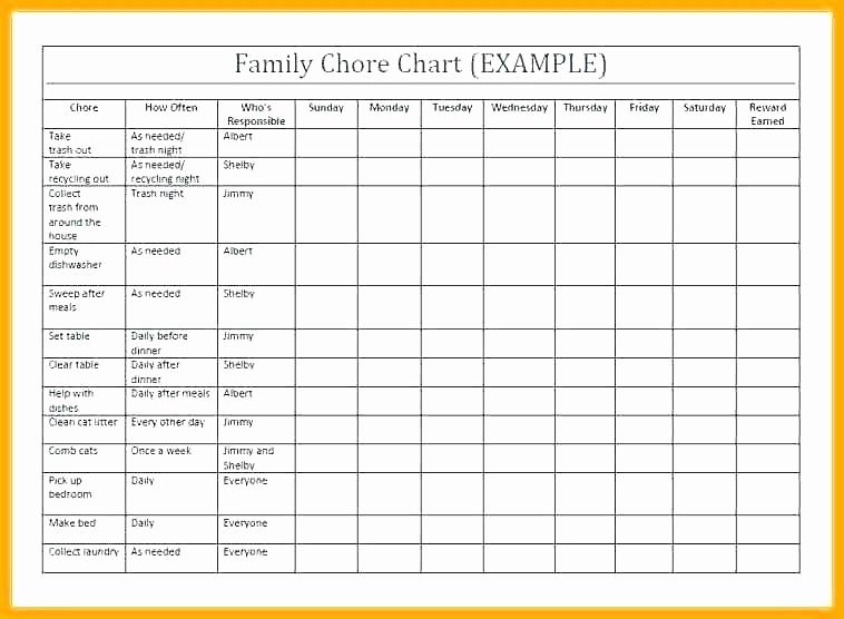 Roommate Chore Chart Template Lovely 97 Blank Chore Charts Free Blank organizational Chart