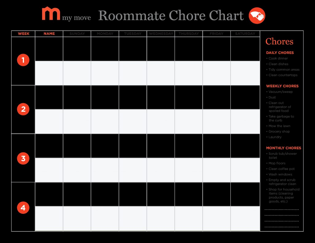 Roommate Chore Chart Template Lovely New Chore Chart Templates