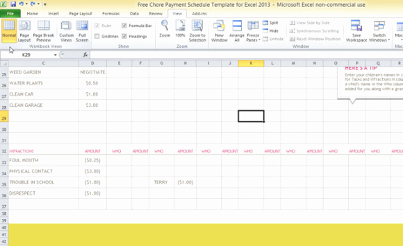 Roommate Chore Chart Template Luxury Free Chore Payment Schedule Template for Excel 2013
