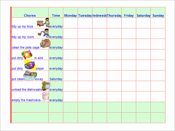 Roommate Chore Chart Template New Chore Chat Template 14 Download Free Documents In Word Pdf