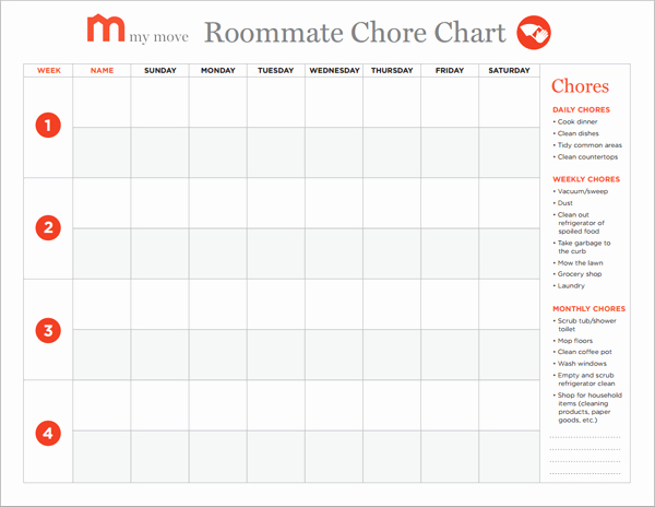 Roommate Chore Chart Template Unique 9 Best Of Ce A Month Chart Chores Printable