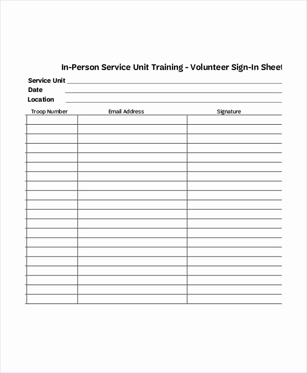 Sign In Sheet Template Doc Elegant Volunteer Sign In Sheet Templates 14 Free Pdf Documents