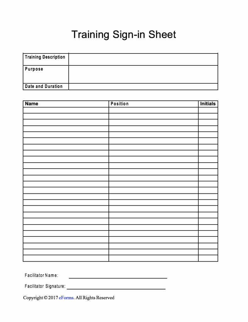 Sign In Sheet Template Doc New Training Sign In Sheet Template
