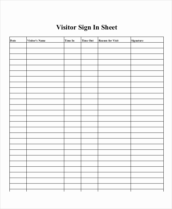 Sign In Sheet Template Doc Unique 10 Sample Printable Sign In Sheets