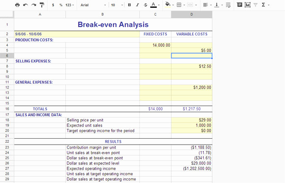 Simple Break even Analysis Template Awesome Break even Analysis Using Free Templates