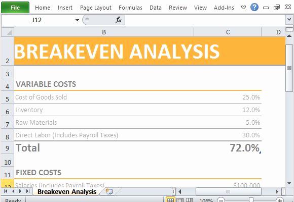 Simple Break even Analysis Template Lovely Simple Breakeven Analysis Maker Template for Excel
