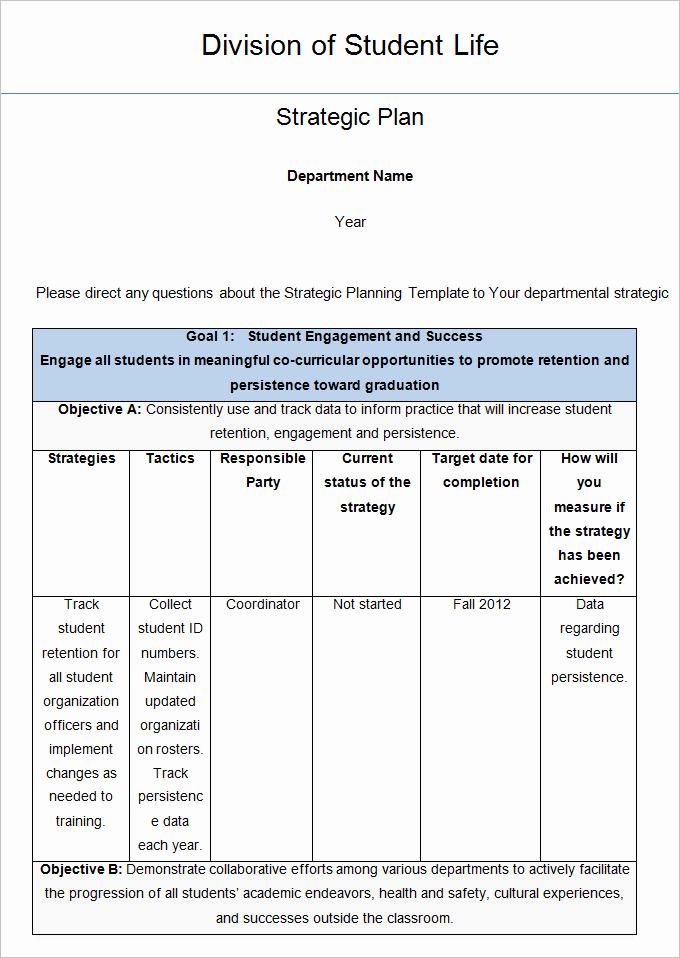 Strategic Planning Template Word Inspirational Strategic Life Plan Template 5 Free Word Pdf Documents